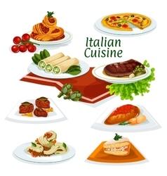 Italian cuisine dinner with dessert cartoon icon vector image