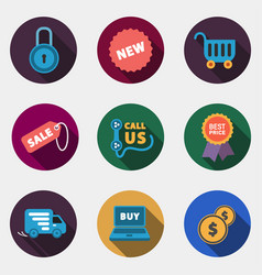 modern circle colorful shop icons with shadow vector image vector image