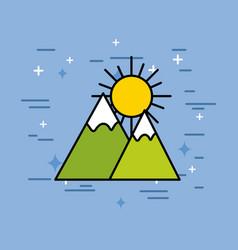 mountains peak snow sun natural vector image