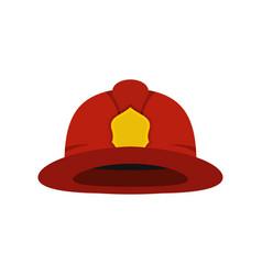 red fireman helmet icon flat style vector image