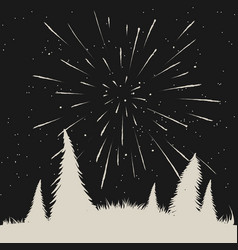 Starfall on night sky in forest vector