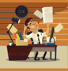 unhappy tired office worker businessman vector image vector image