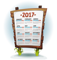 2017 calendar on wood sign vector image vector image