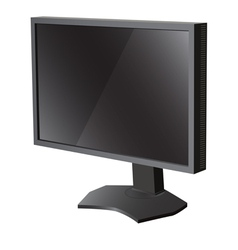 Black lcd tv monitor on white background vector image