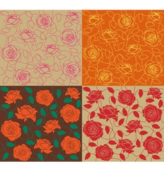 four seamless of a color roses and leafs vector image vector image