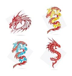 glass creative elegance dragons symbols set vector image