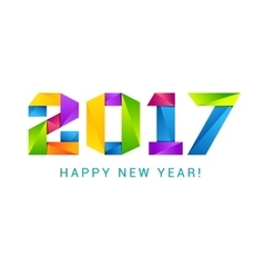 Happy new year 2017 text design colorful vector image vector image