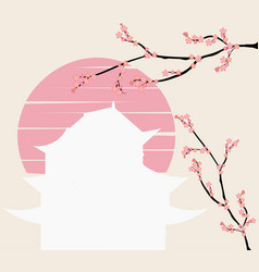 japanese castle and pink floral branch at sunset vector image
