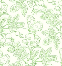 Seamless pattern with wild roses vector image