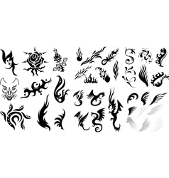 Tattoo dragons fire wings floral elements vector