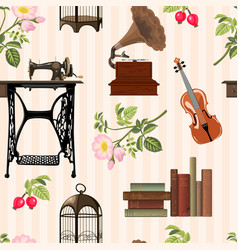 vintage objects pattern vector image vector image