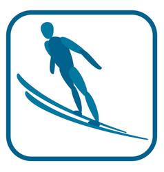 ski jumping emblem vector image vector image