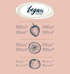 vegetarian restaurant menu hand drawn design vector image