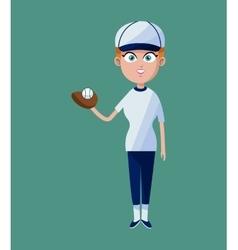 cartoon girl baseball player glove ball and cap vector image