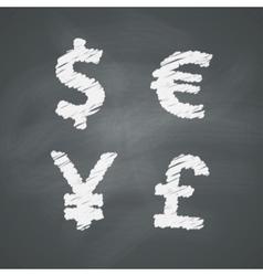 Chalkboard Money Signs vector image vector image