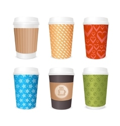 Coffee Cups Template Set vector image vector image