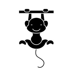 monkey cute icon black sign vector image