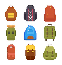 tourist backpack or hike bags and knapsacks vector image vector image