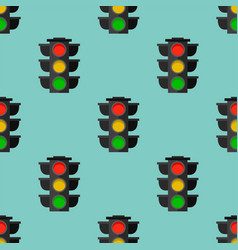 Traffic lights safety stop seamless pattern vector