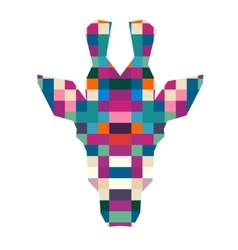 animal head giraffe triangular pixel icon vector image
