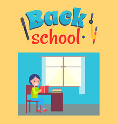 back to school poster with schoolboy sit at desk vector image