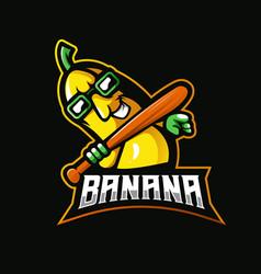 banana with glasses and baseball stick vector image
