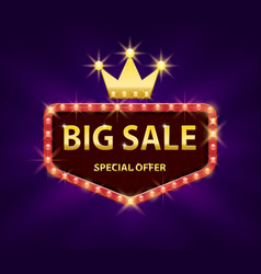 big sale discount banner with red lights frame vector image