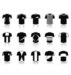 black t-shirt soccer clothing icons set vector image