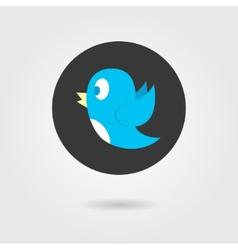 Blue birdy in black circle vector