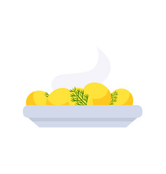 Boiled warm potatoes on plate vegetables vector