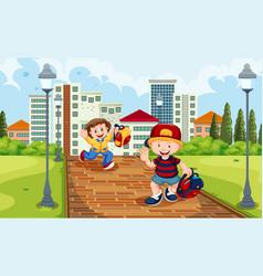 Boy and girl running from schooll vector