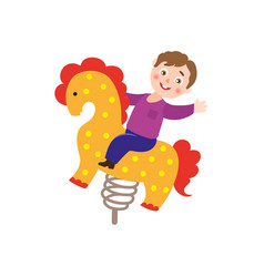 Boy kid having fun at spring seesaw horse vector