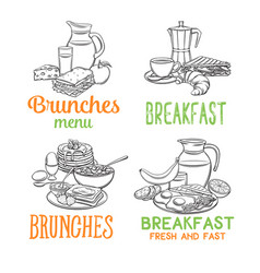 breakfast banners template vector image