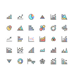 business graph filled outline icon set vector image