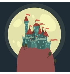 Cartoon Castle on a Hill flat icon vector
