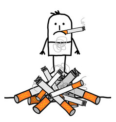 Cartoon man on a big pile of cigarettes vector