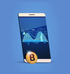 Cell smart phone charts and graph bitcoin icon vector