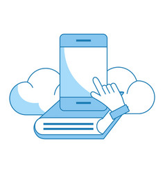 Cellphone with book vector