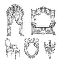 Collection baroque furniture made in hand vector
