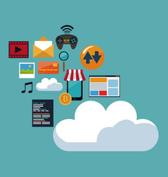 color background of cloud storage with icons vector image