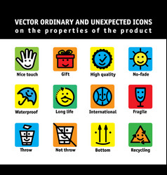 color set icons properties of products vector image