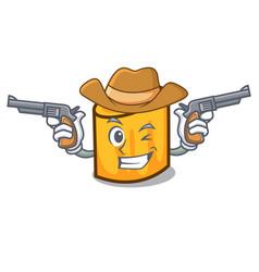 cowboy rigatoni character cartoon style vector image