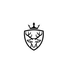 creative deer head crown shield logo design symbol vector image