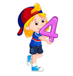 Cute child holding balloon with number four vector