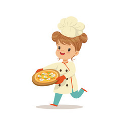 Cute little girl running with a freshly cooked vector