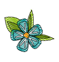 Delicate flower doodle image vector