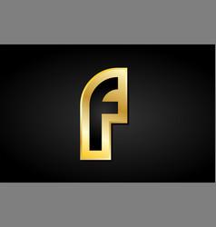 F gold golden letter logo icon design vector