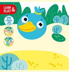 finger drawing game duck sample worksheet learn vector image