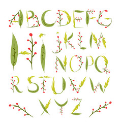 Floral alphabet made of red berries and leaves vector