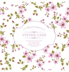 Flower texture on vintage card vector